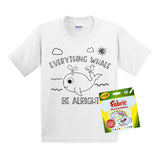 Monogrammed Coloring Everything Whale Be Alright Kids Youth T-Shirt