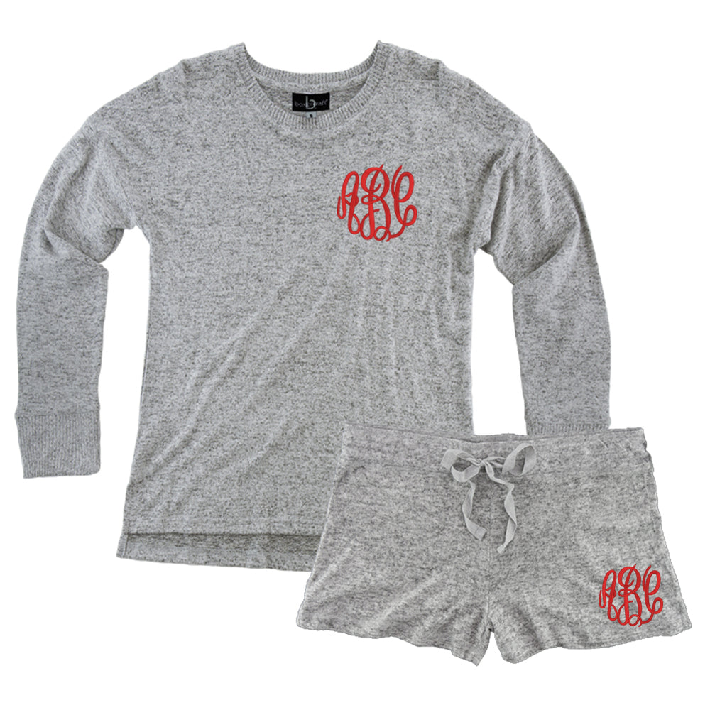 Monogrammed Soft Heathered Lounge Set