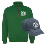 Monogrammed Fall Essentials Package Quarter Zip Sweatshirt & Baseball Hat