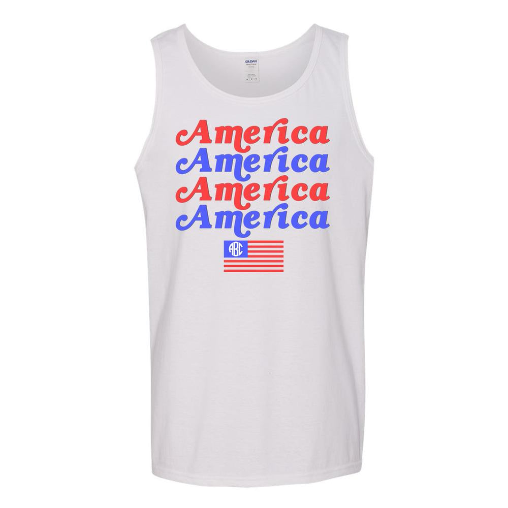 Monogrammed America America Tank Top Fourth of July