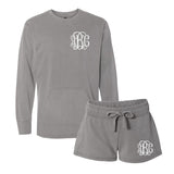 Monogrammed Comfort Colors Lounge Set Second Edition Sweatshirt with Pockets & Shorts