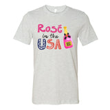 Monogrammed Rose In The USA Tee Fourth of July