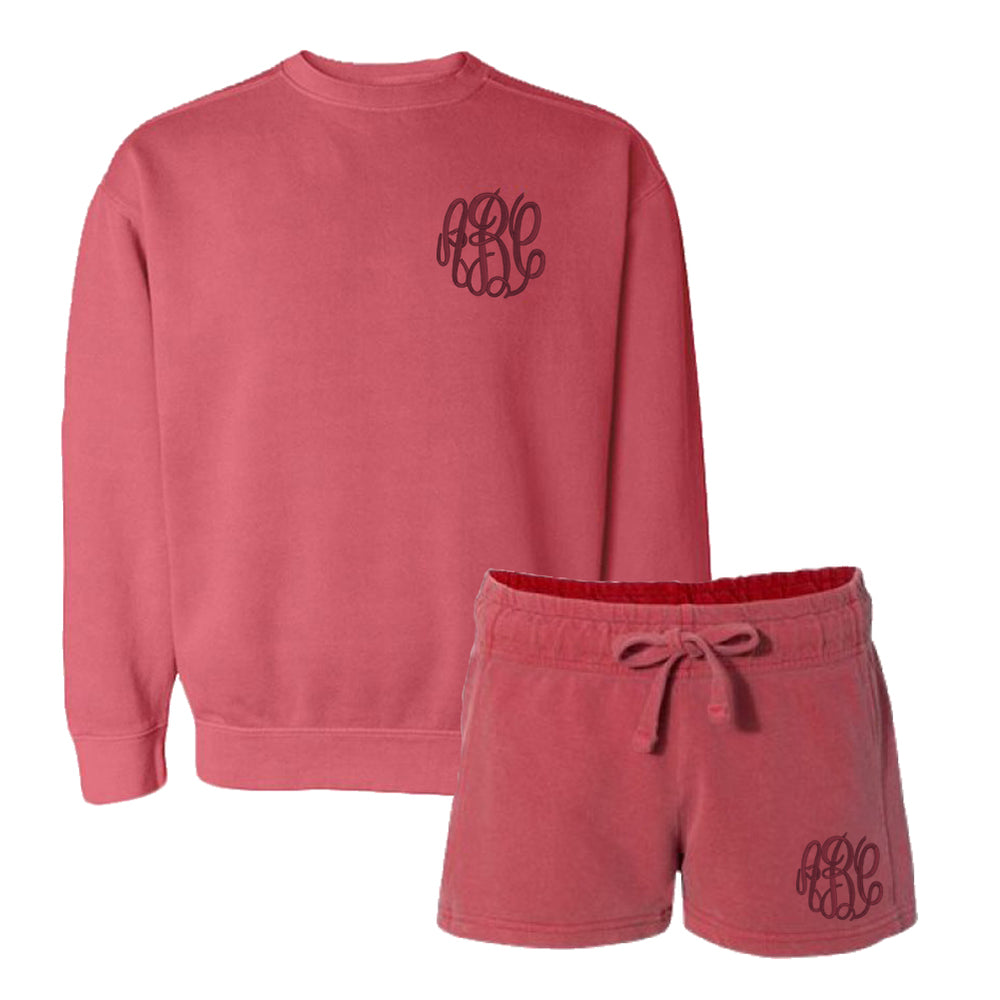 Monogrammed Comfort Colors Lounge Set Sweatshirt & Shorts