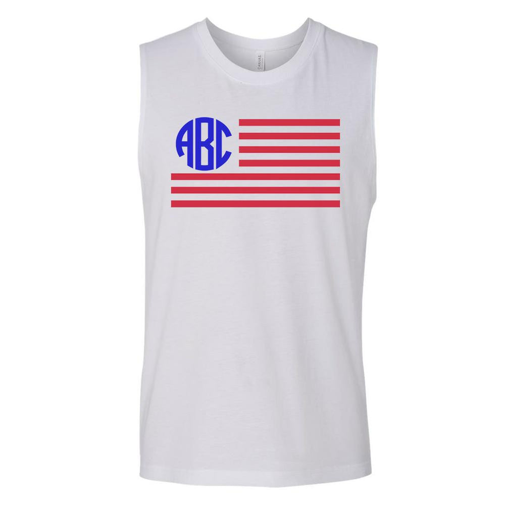 Monogrammed American Flag Muscle Tank Fourth of July