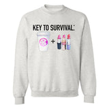 Monogrammed Key To Survival Makeup & Coffee Sweatshirt
