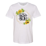 Monogrammed Sunflower Frame Wreath T-Shirt