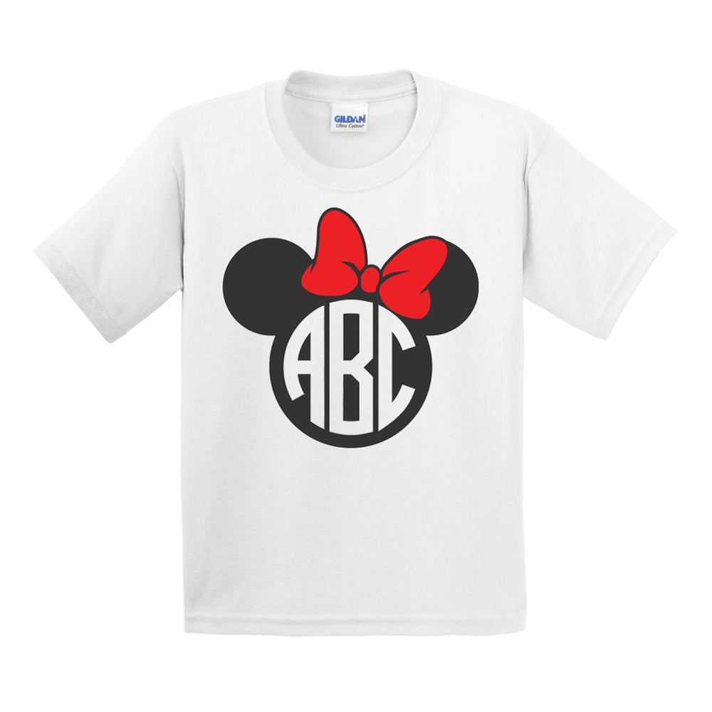 Monogrammed Minnie/Mickey Mouse Disney T-Shirt Kids Youth Sizes