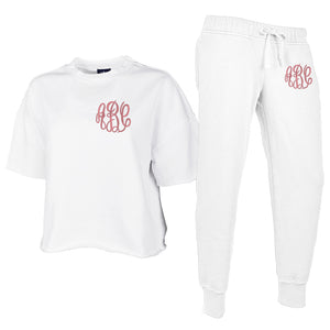 Monogrammed Distressed Lounge Set Package Joggers Tee