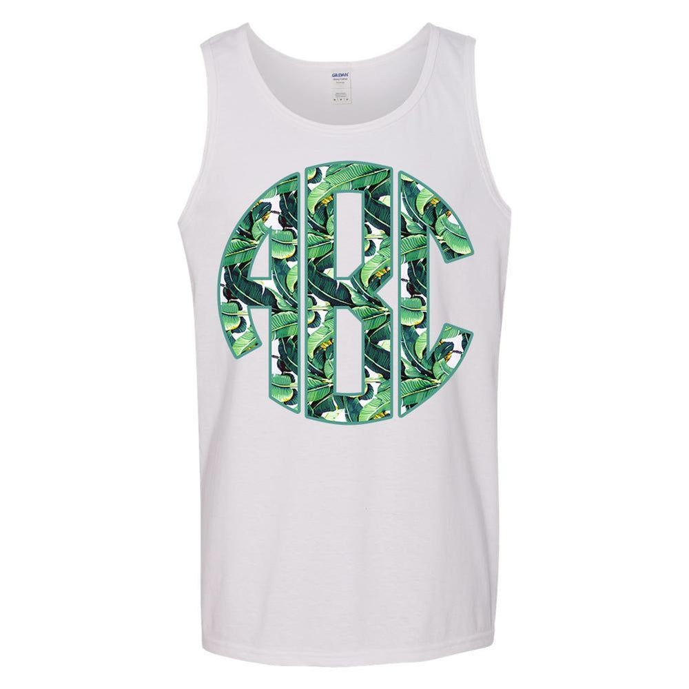 Monogrammed Banana Leves Tank Top