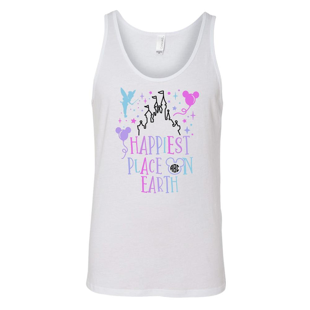 Monogrammed Happiest Place On Earth Disney Magic Kingdom Tank Top