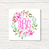 Monogrammed Spring Flowers Wreath Wall Art Canvas