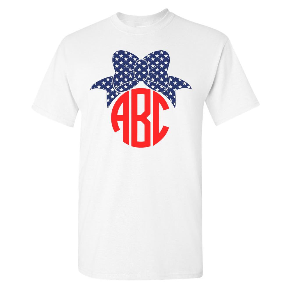 Monogrammed Patriotic Bow T-Shirt Fourth of July