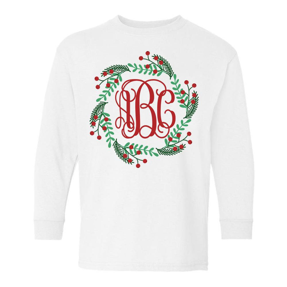 Monogrammed Holly Wreath Kids Toddler Long Sleeve Shirt Christmas