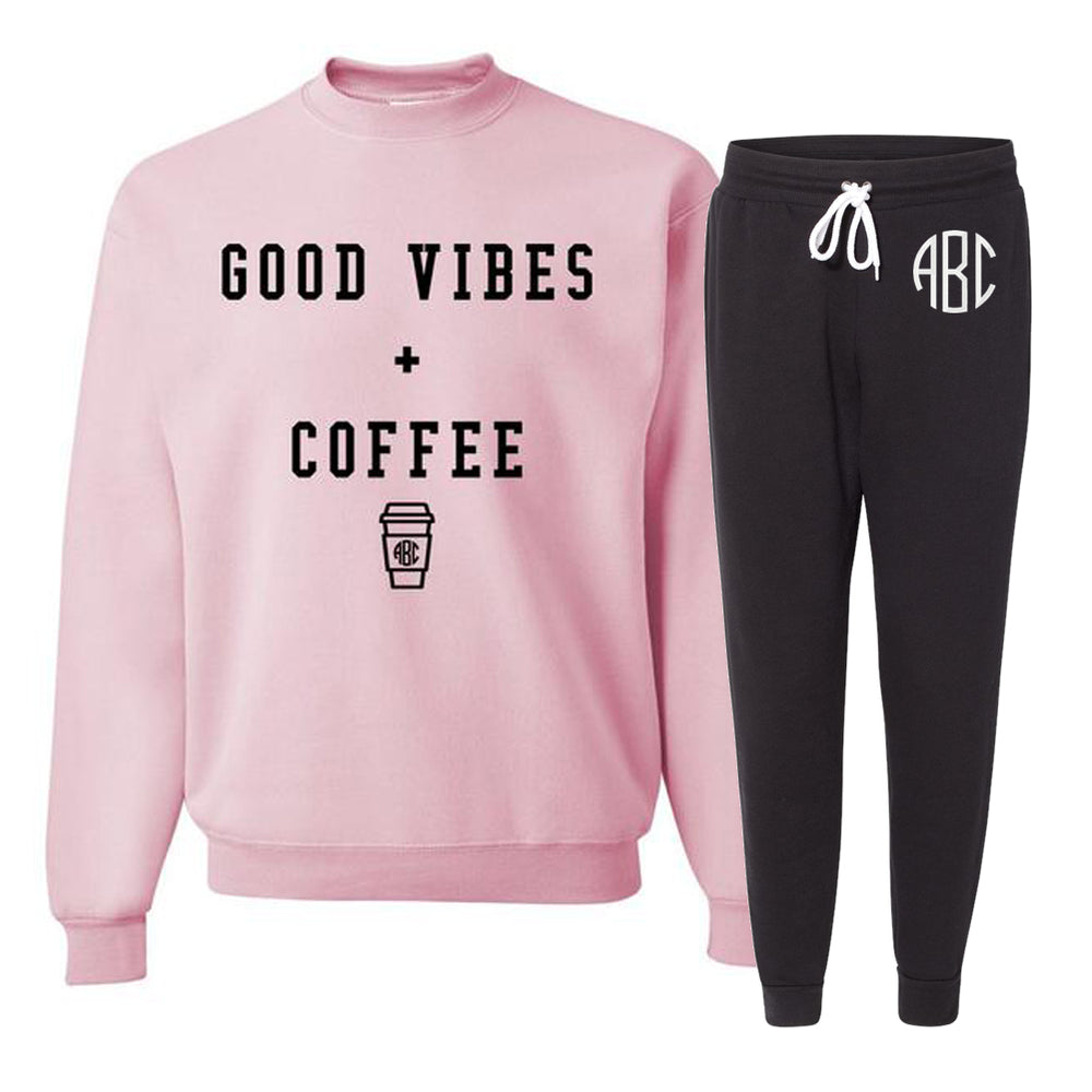 Monogrammed Good Vibes & Coffee Lounge Set Sweatshirt & Joggers Sweatpants