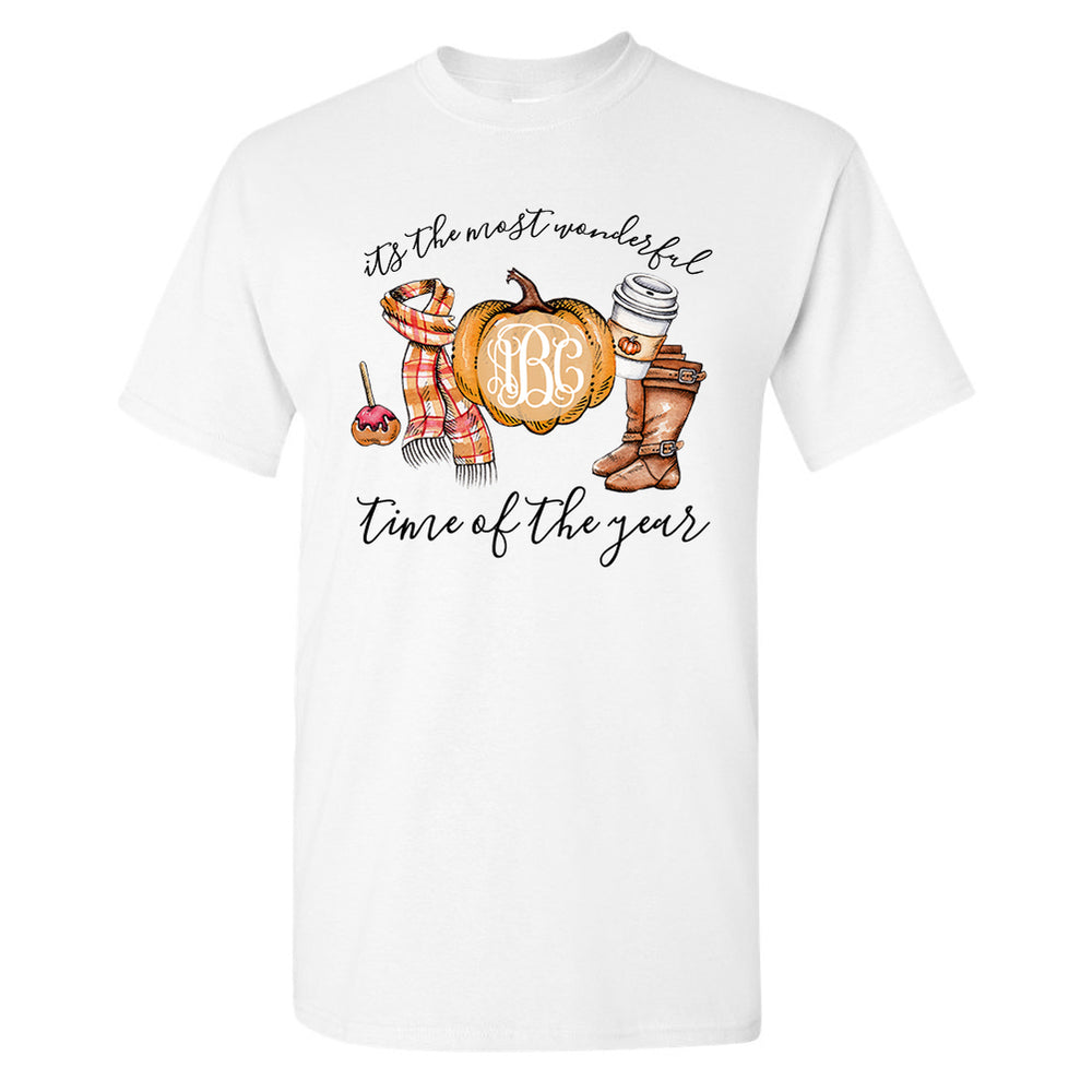Monogrammed Most Wonderful Time of the Year T-Shirt Fall