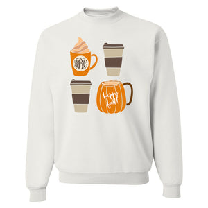 Monogrammed Happy Fall Coffee Crewneck Sweatshirt