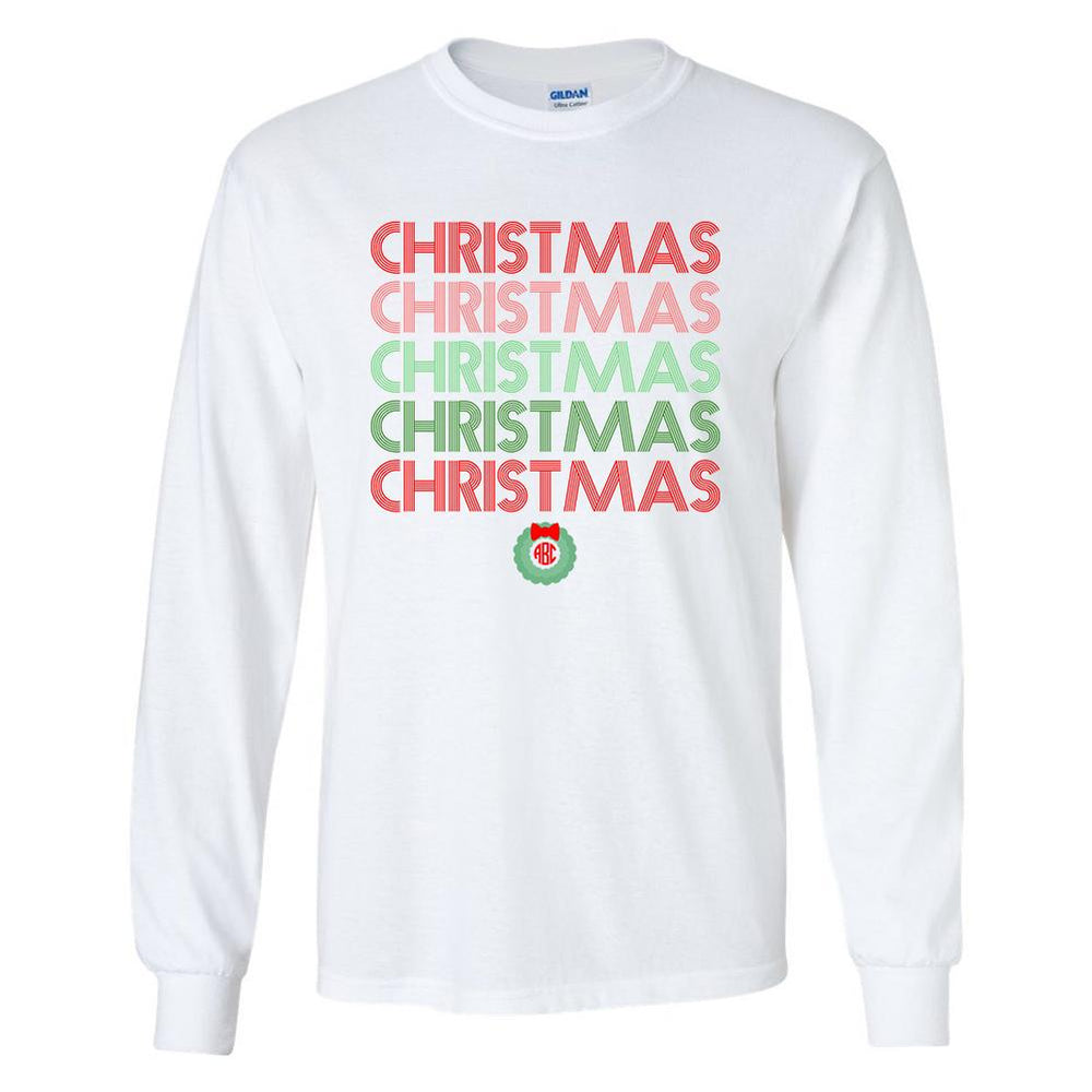 Monogrammed Retro Christmas Long Sleeve Shirt