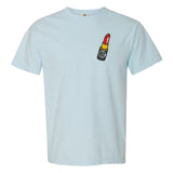 Light Blue Comfort Colors t-Shirt with Lipstick Monogram