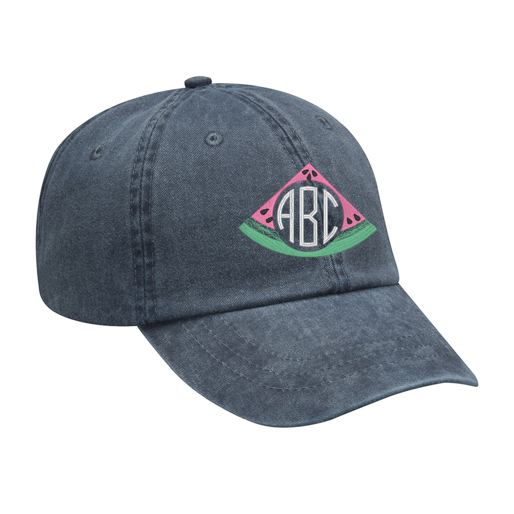 Vintage Navy Monogrammed Hat- Watermelon Embroidery