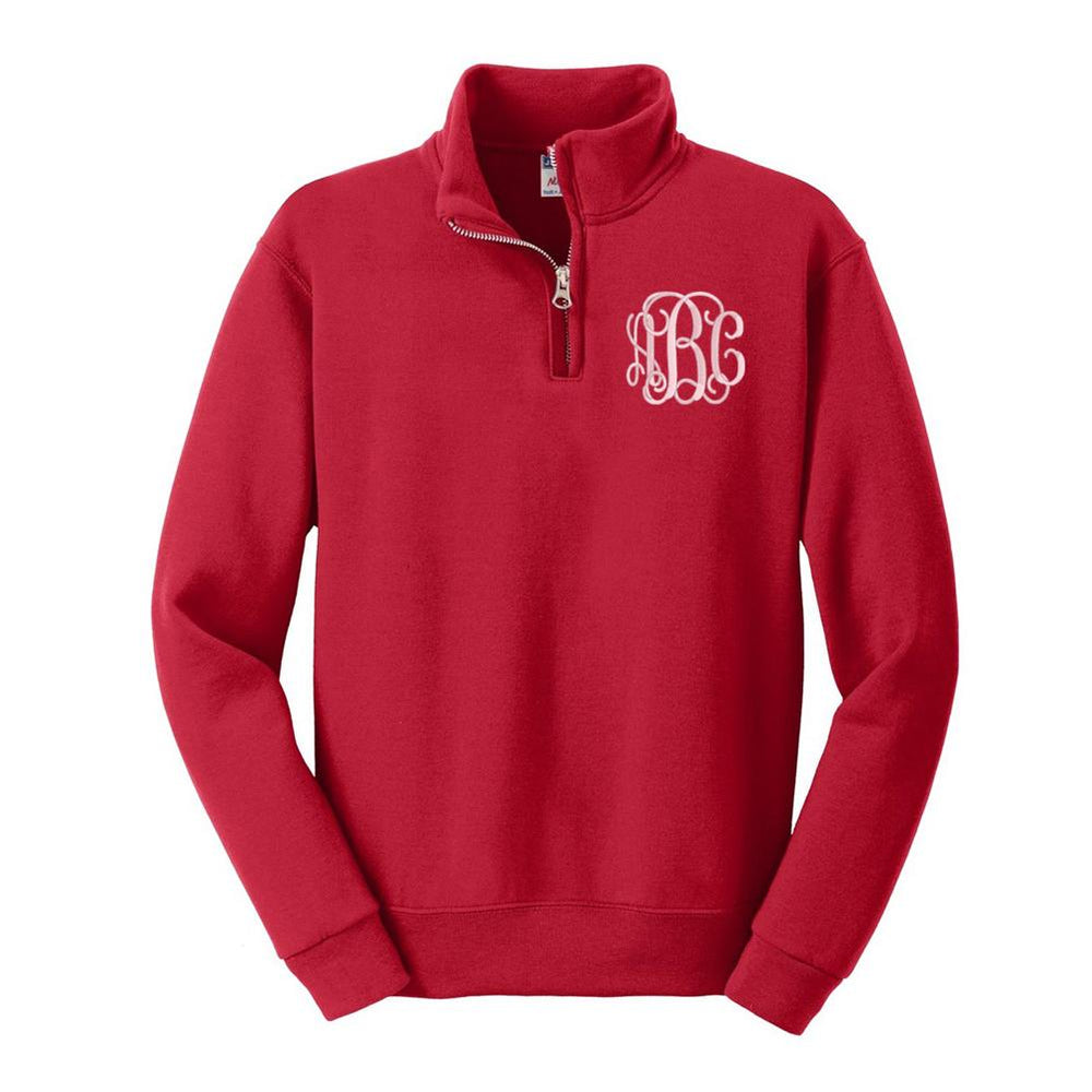 Kids Monogrammed Quarter Zip Sweatshirt Youth Sizes