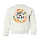 Monogrammed Autumn Wreath Leaf Crown Kids Sweatshirt