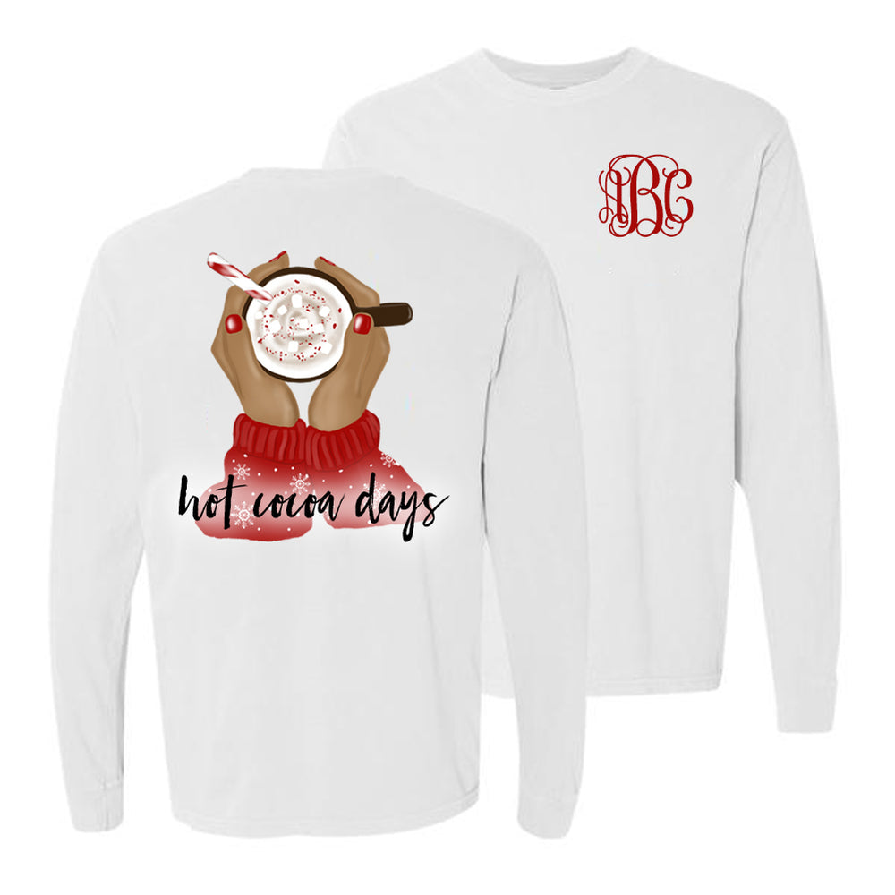 Monogrammed Hot Cocoa Days Front & Back Long Sleeve Shirt