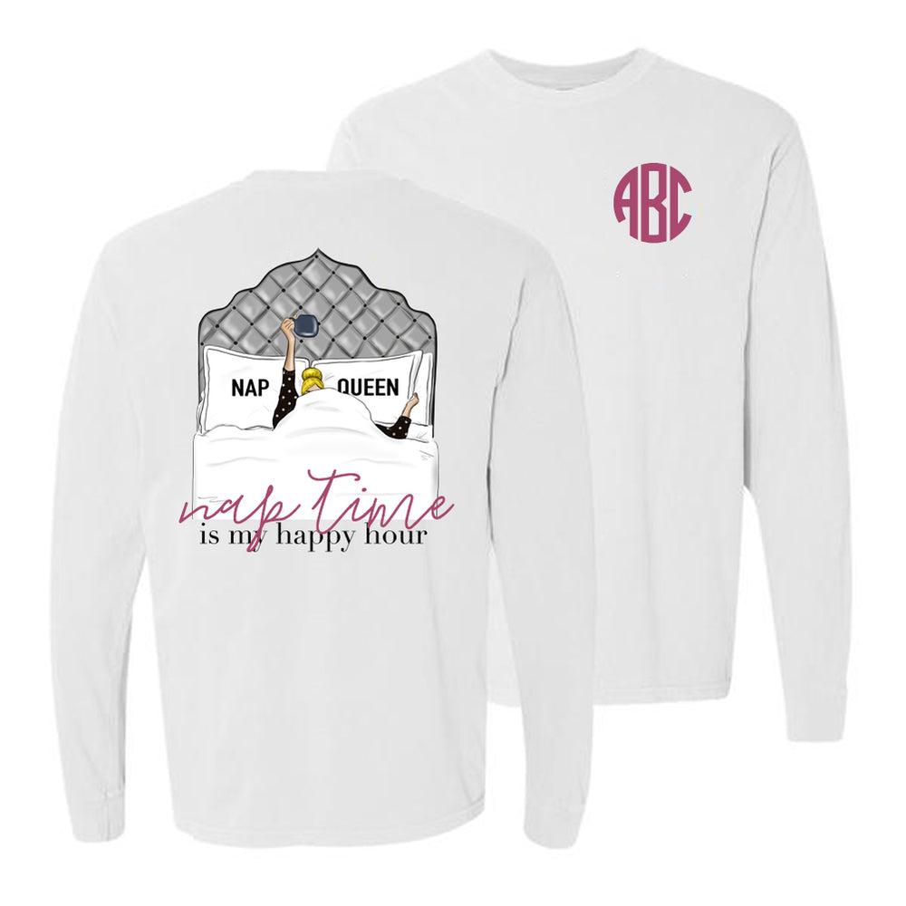 Monogrammed Nap Queen Front & Back Long Sleeve Shirt