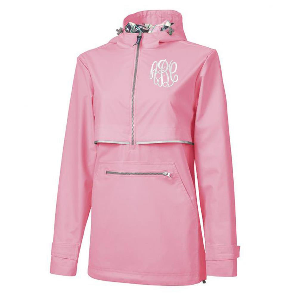 Pink Pullover Rain Jacket with Monogram