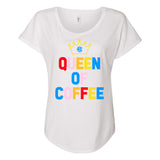 Monogrammed Queen Of Coffee Flowy Tee
