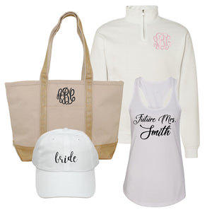 Monogrammed Bridal Engagement Gift Package Set