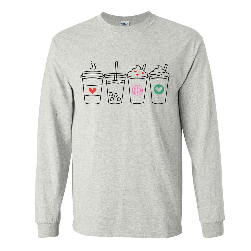Monogrammed Coffee Lover Drinks Long Sleeve Shirt