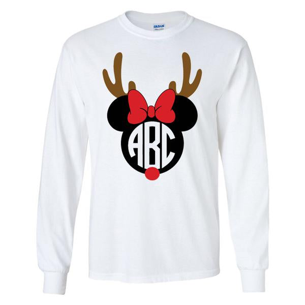 Monogrammed Minnie Reindeer Long Sleeve Shirt
