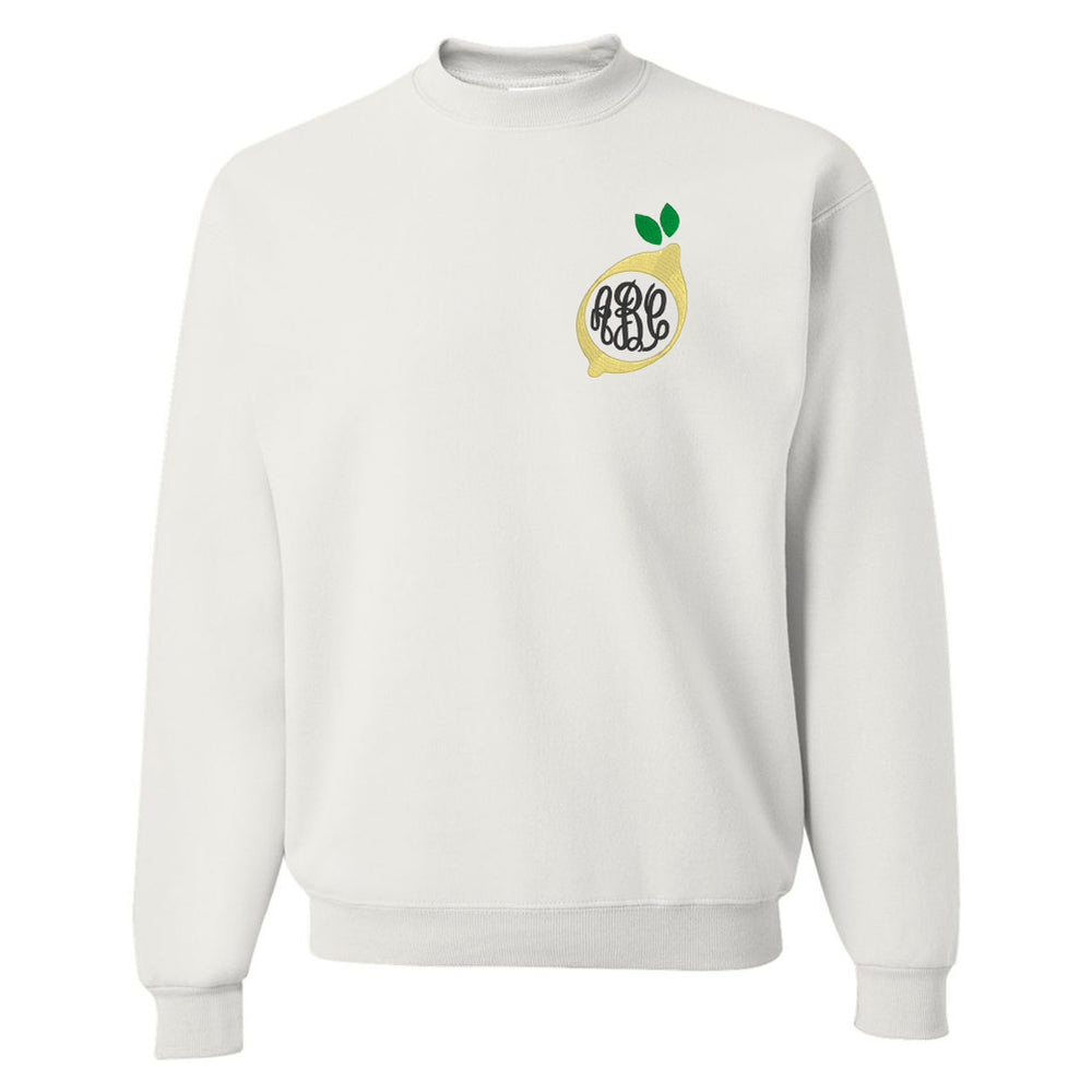 Lemon Embroidery Monogram Sweatshirt Whie