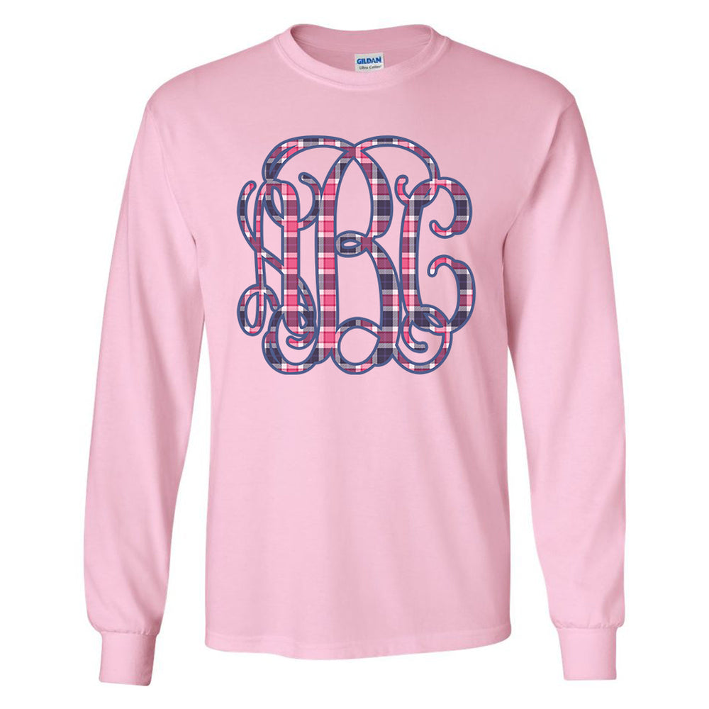 Monogrammed Plaid Long Sleeve Shirt