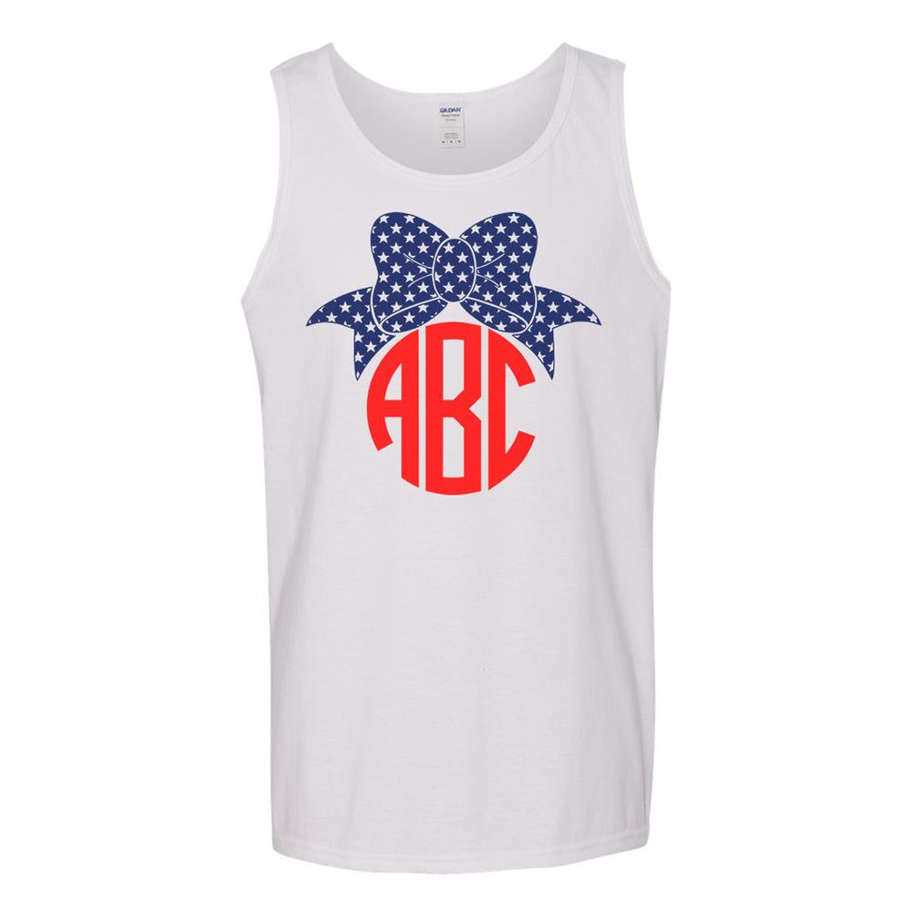 Monogrammed Patriotic Bow Tank Top Fourth of July