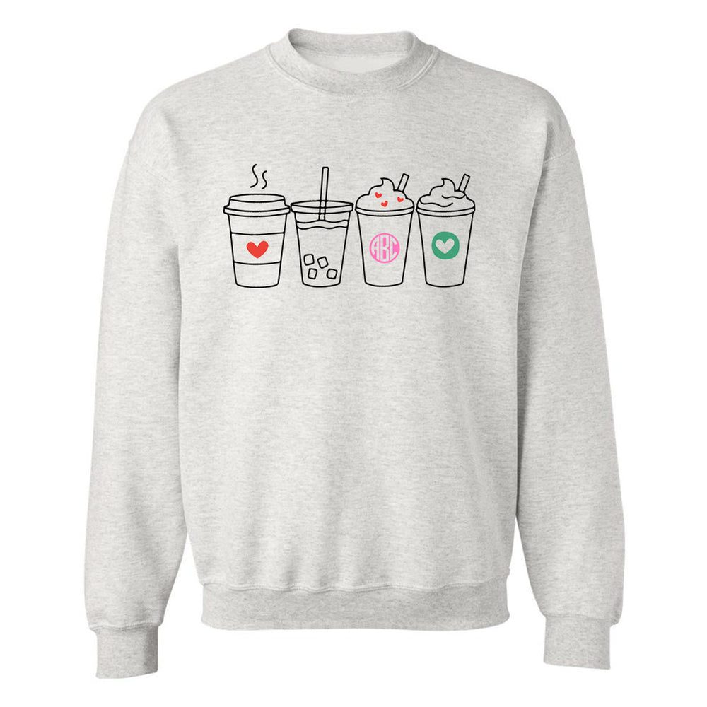 Monogrammed Coffee Lover Drinks Crewneck Sweatshirt