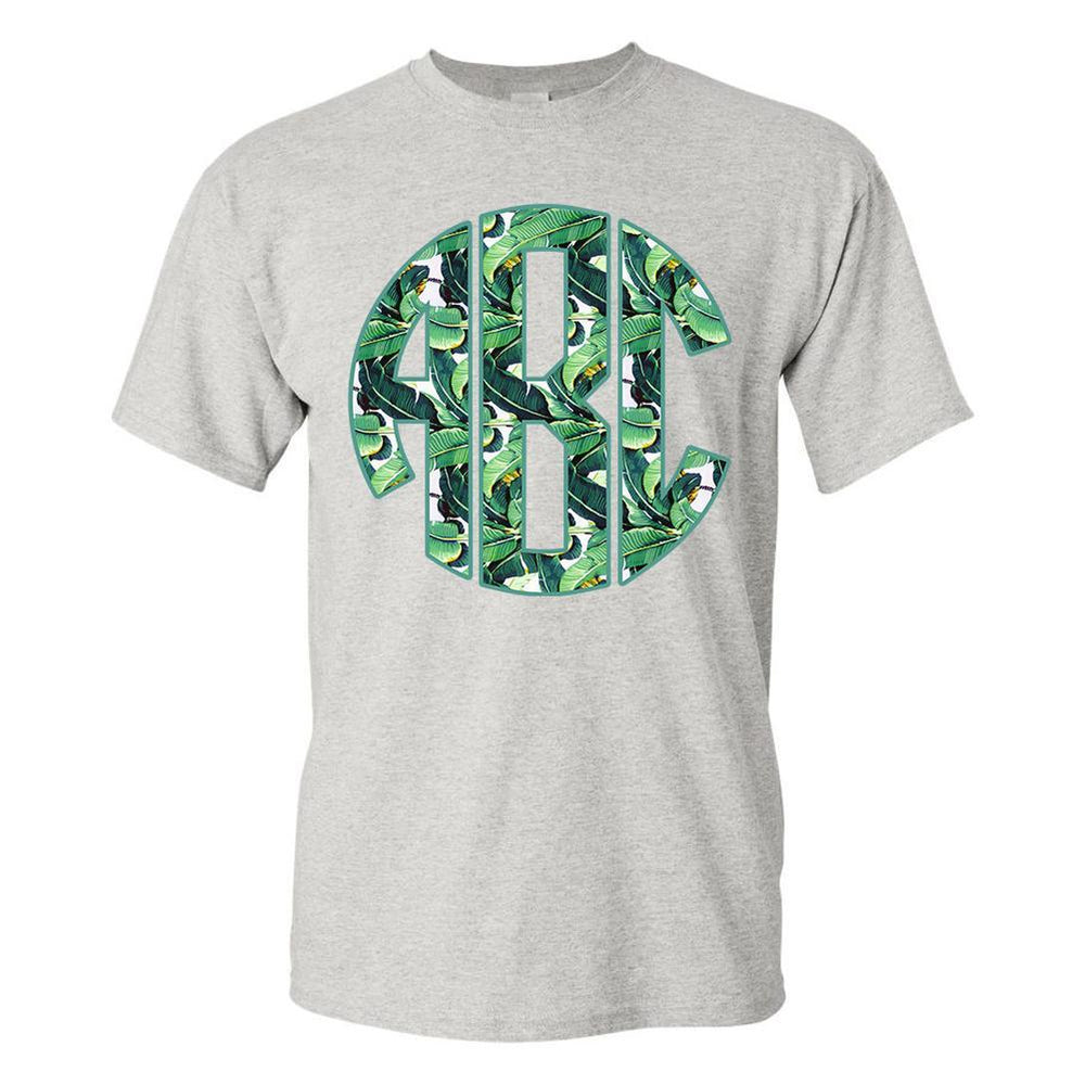 Monogrammed 'Banana Leaves' Big Print T-Shirt