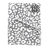 Monogrammed Grey Leopard Fleece Blanket