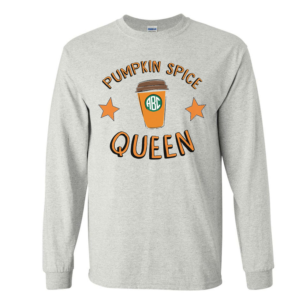 Monogrammed PSL Pumpkin Spice Queen Long Sleeve Shirt
