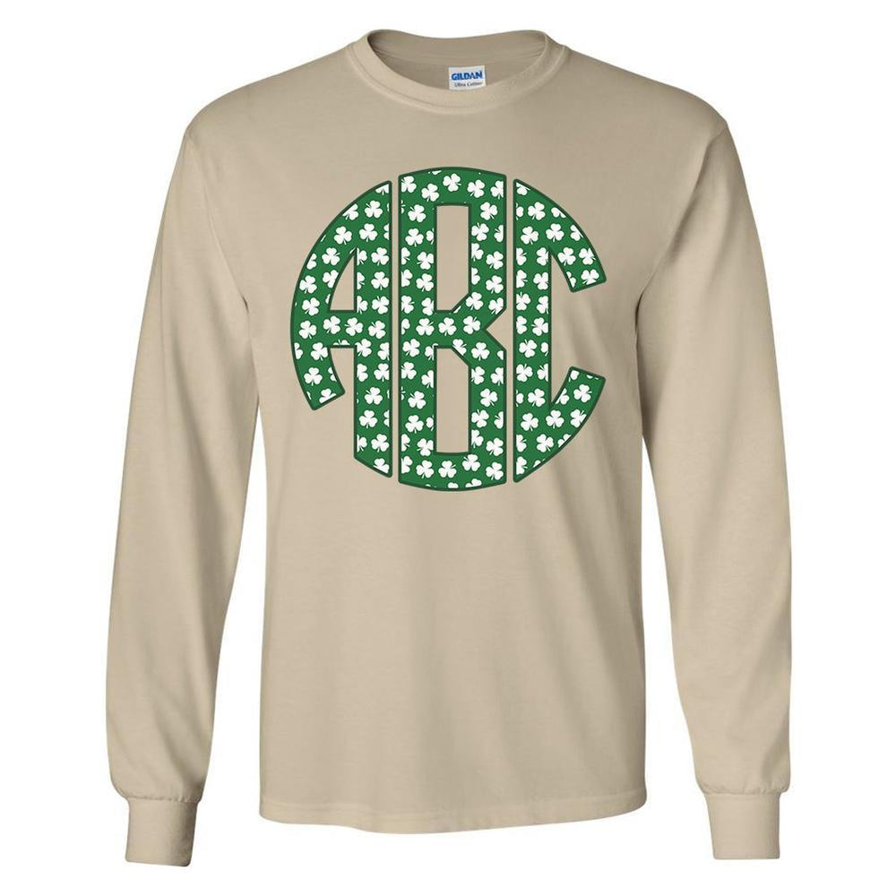 Green Shamrock Big Print Monogram Tan Long Sleeve