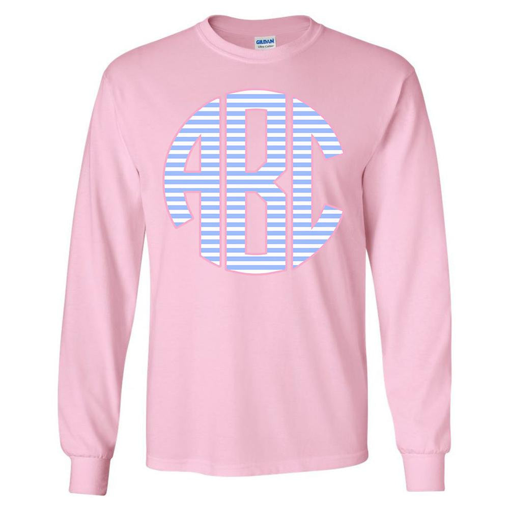 462256965 Monogrammed 'Striped' Big Print Long Sleeve T-Shirt – United Monograms