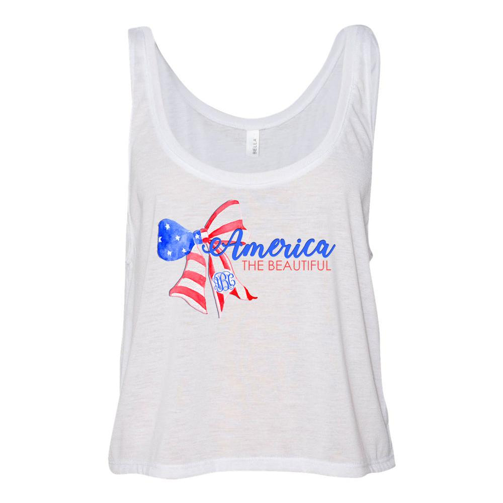 Monogrammed America The Beautiful Cropped Tank Top Fourth of July