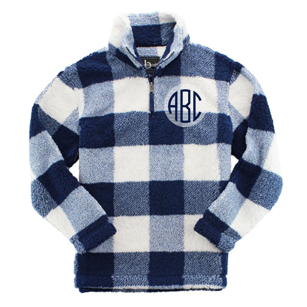 Monogrammed Buffalo Plaid Sherpa Pullover Quarter Zip