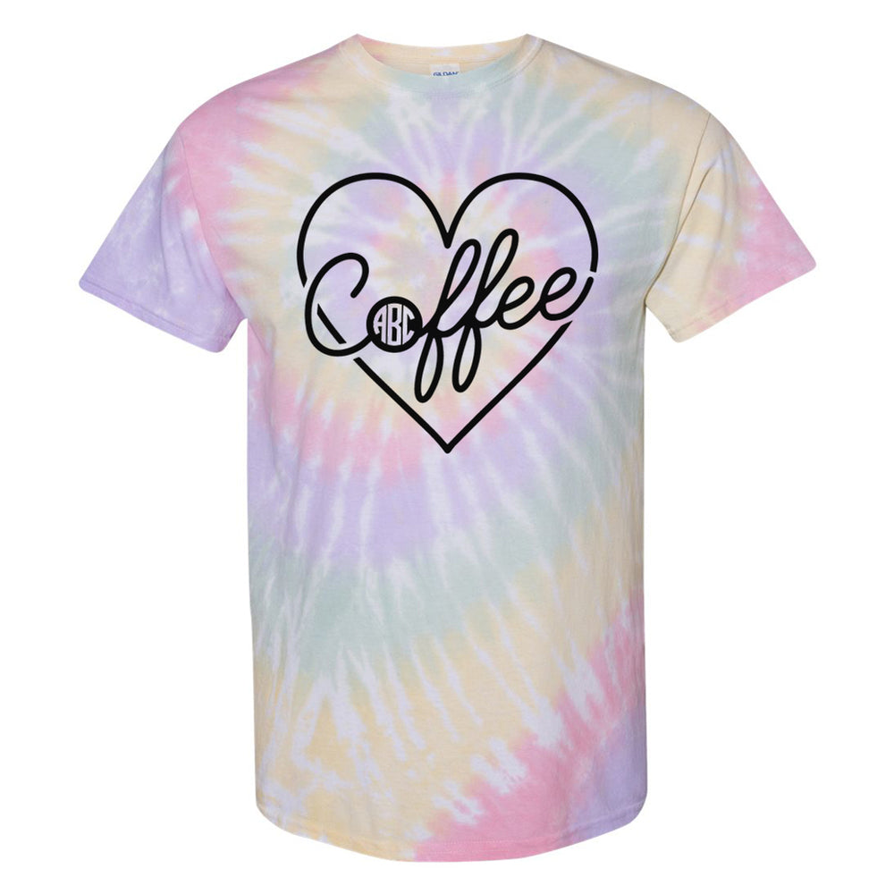 Monogrammed 'Tie Dye Coffee Heart' T-Shirt