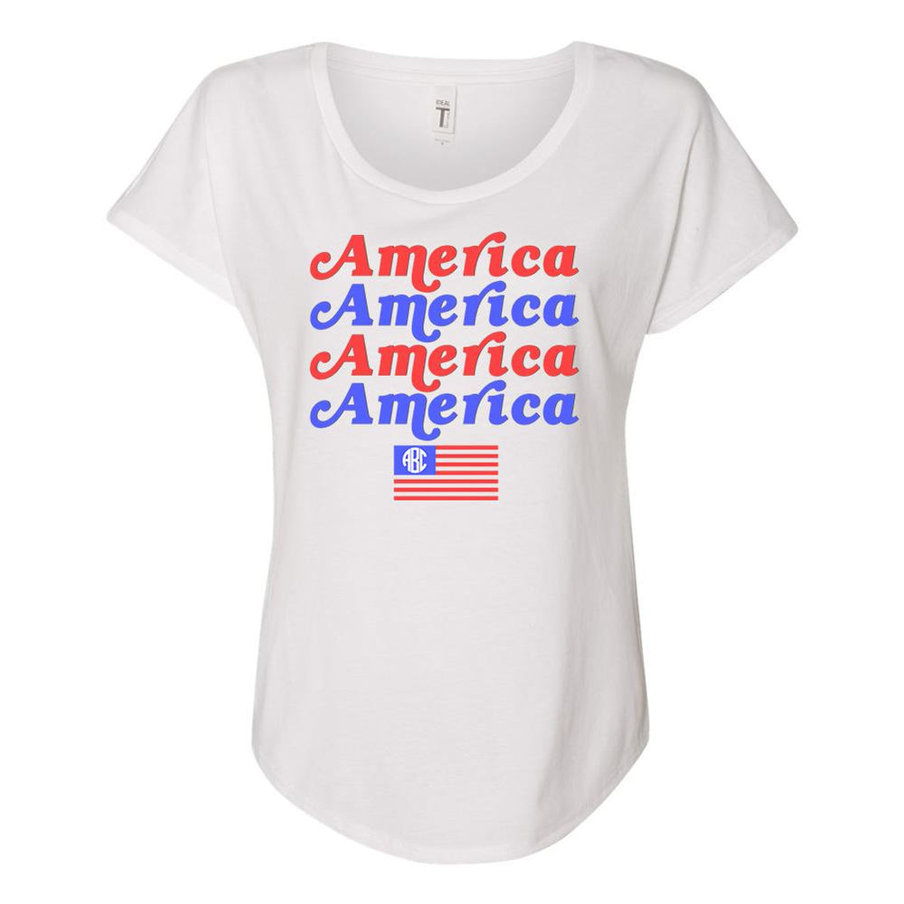 Monogrammed America America Flowy Tee Fourth of July