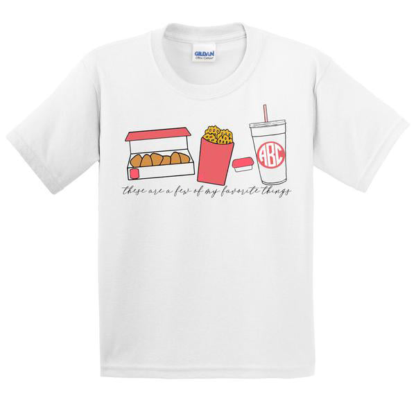 Monogrammed Kids Chick-fil-A Favorite Things T-Shirt Youth Toddler