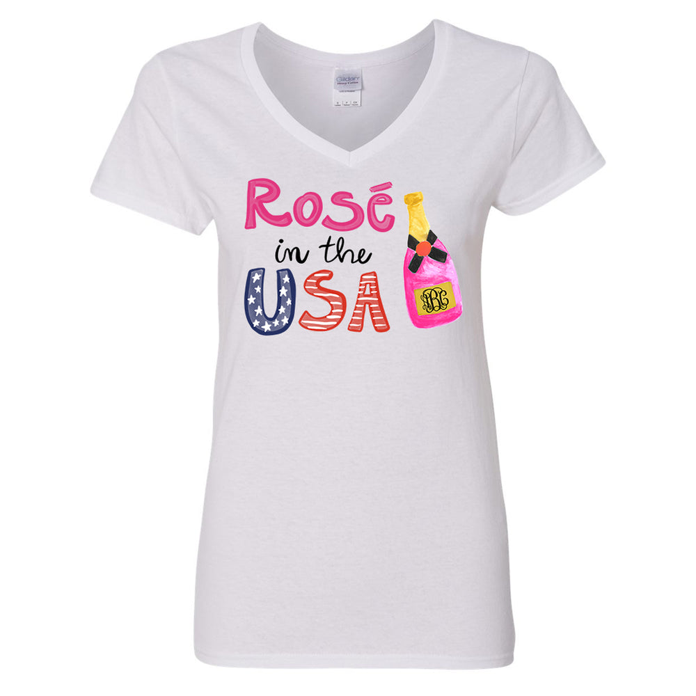 Monogrammed Rose In The USA V-Neck T-Shirt Fourth of July