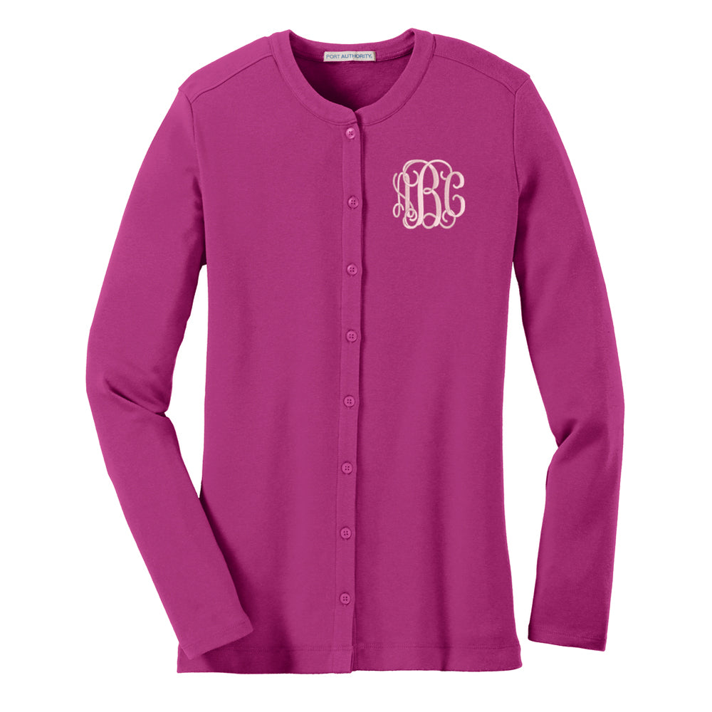 Monogrammed Button Up Cardigan