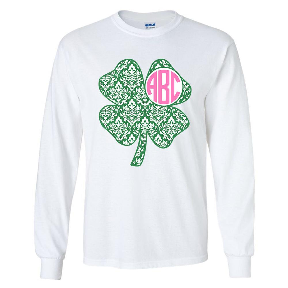 Monogrammed Shamrock Patterned Long Sleeve Shirt St. Patrick's Day