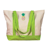 Monogrammed Pineapple Canvas Tote Bag